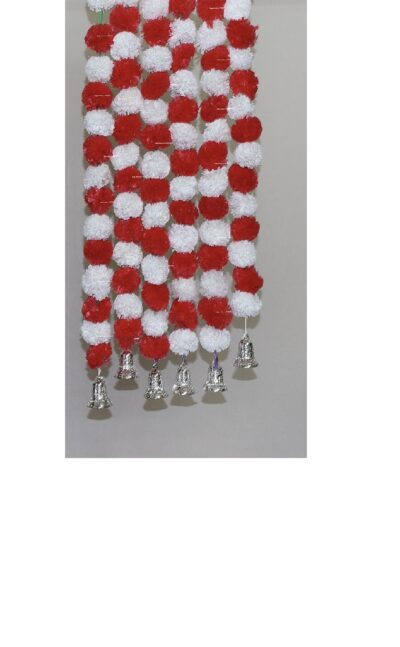 Sphinx artificial marigold fluffy flowers with golden silver bells 2.5 ft strings garlands white and red 1