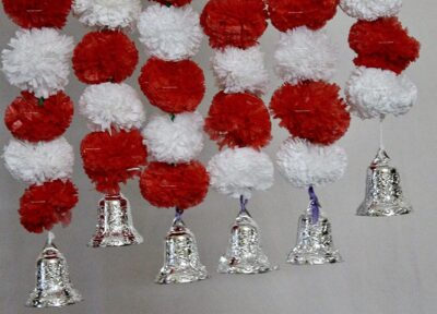 Sphinx artificial marigold fluffy flowers with golden silver bells 2.5 ft strings garlands white and red 2