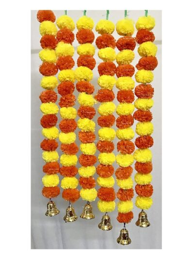 Sphinx artificial marigold fluffy flowers with golden silver bells 2.5 ft strings garlands yellow and dark orange 1
