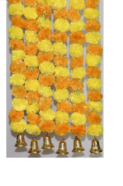Sphinx artificial marigold fluffy flowers with golden silver bells 2.5 ft strings garlands yellow and light orange 1