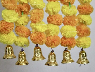 Sphinx artificial marigold fluffy flowers with golden silver bells 2.5 ft strings garlands yellow and light orange 2