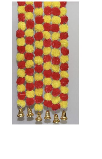 Sphinx artificial marigold fluffy flowers with golden silver bells 2.5 ft strings garlands yellow & red 1