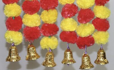 Sphinx artificial marigold fluffy flowers with golden silver bells 2.5 ft strings garlands yellow & red 2
