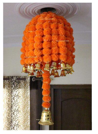 sphinx artificial marigold fluffy flowers jhoomar chandelier dome dark orange 1