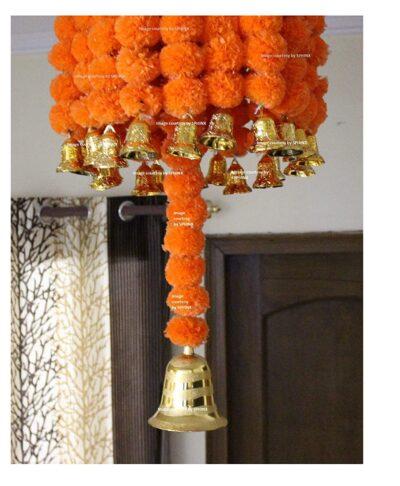 sphinx artificial marigold fluffy flowers jhoomar chandelier dome dark orange 2