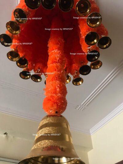 sphinx artificial marigold fluffy flowers jhoomar chandelier dome dark orange 3
