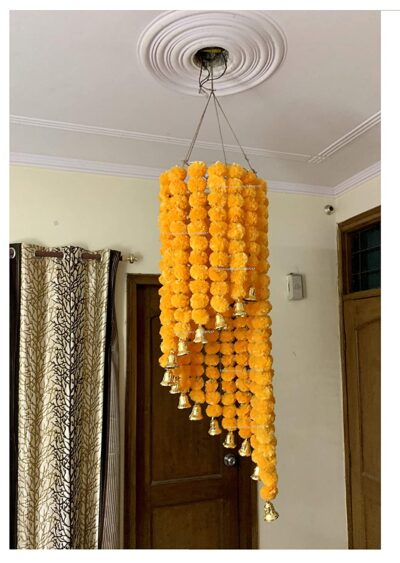 sphinx artificial marigold fluffy flowers jhoomar chandelier light orange 1