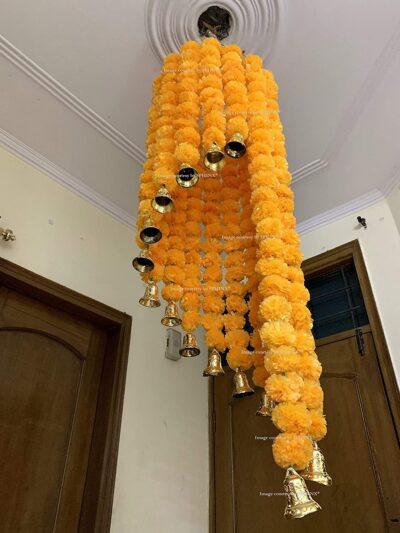 sphinx artificial marigold fluffy flowers jhoomar chandelier light orange 2