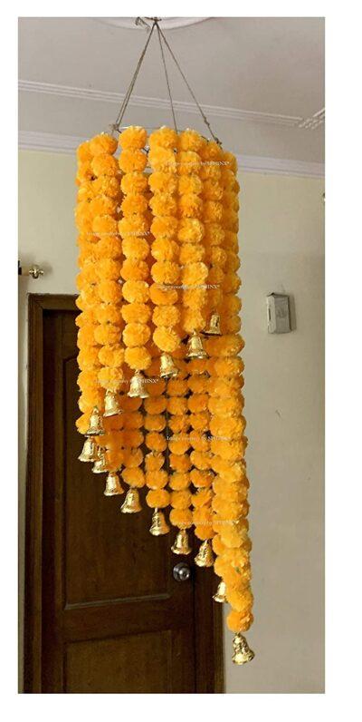 sphinx artificial marigold fluffy flowers jhoomar chandelier light orange 3
