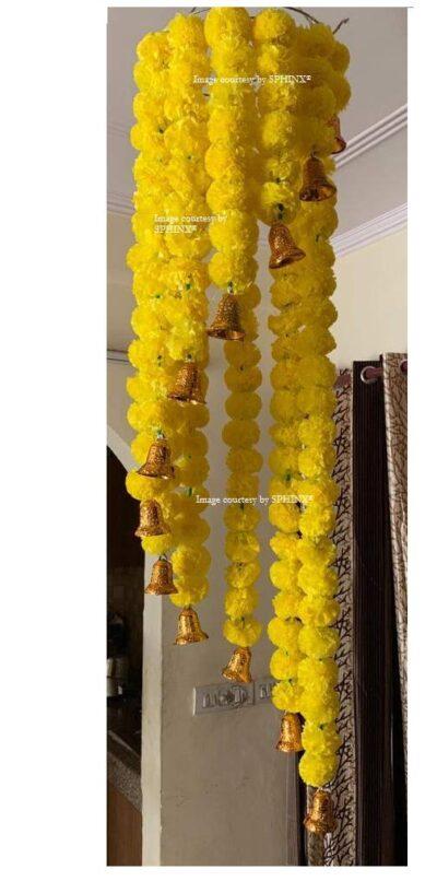sphinx artificial marigold fluffy flowers jhoomar chandelier yellow 2