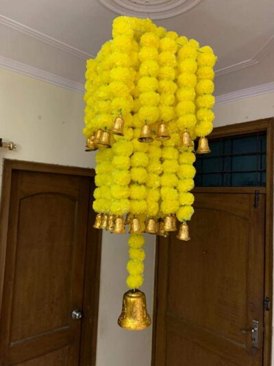 sphinx artificial marigold fluffy flowers jhoomar chandelier yellow step 2