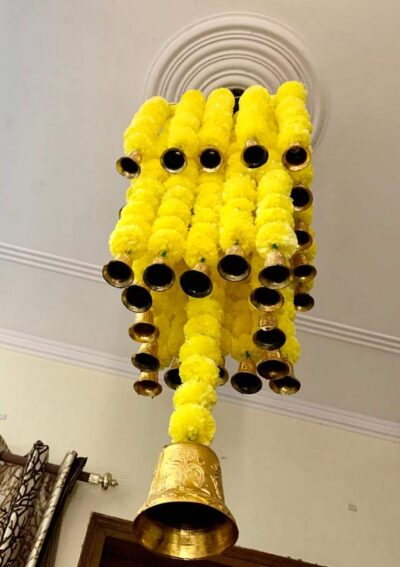 sphinx artificial marigold fluffy flowers jhoomar chandelier yellow step 3