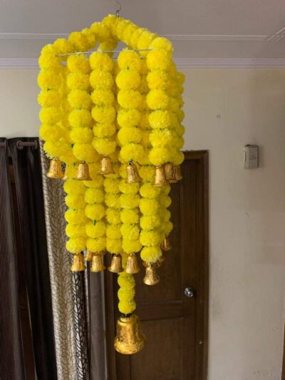sphinx artificial marigold fluffy flowers jhoomar chandelier yellow step 6