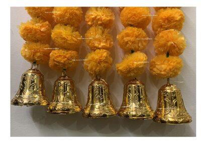 sphinx artificial marigold fluffy flowers with bells short garlands latkans 1.2 ft. light orange 2a