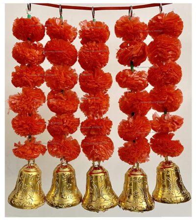 sphinx artificial marigold fluffy flowers with bells short garlands latkans 1.2 ft. red 1a