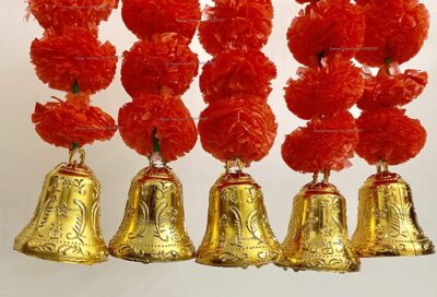 sphinx artificial marigold fluffy flowers with bells short garlands latkans 1.2 ft. red 2a