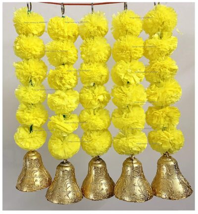 sphinx artificial marigold fluffy flowers with bells short garlands latkans 1.2 ft. yellow 1