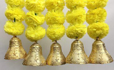 sphinx artificial marigold fluffy flowers with bells short garlands latkans 1.2 ft. yellow 2