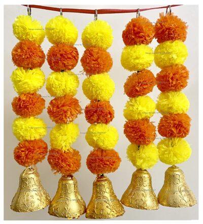 sphinx artificial marigold fluffy flowers with bells short garlands latkans 1.2 ft. yellow and dark orange 1