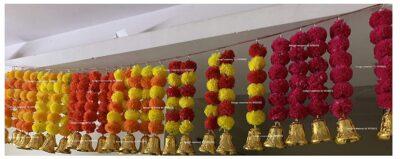 sphinx artificial marigold fluffy flowers with bells short garlands latkans 1.2 ft. yellow and dark orange 3
