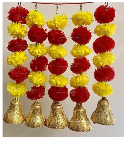 sphinx artificial marigold fluffy flowers with bells short garlands latkans 1a