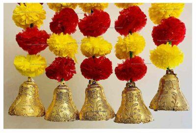 sphinx artificial marigold fluffy flowers with bells short garlands latkans 2a