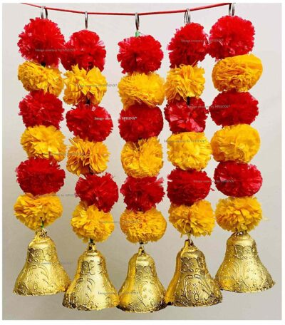 sphinx artificial marigold fluffy flowers with bells short garlands latkans light orange and red 1a