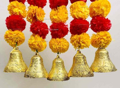 sphinx artificial marigold fluffy flowers with bells short garlands latkans light orange and red 2a