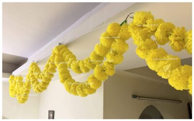 Sphinx artificial marigold fluffy flowers double lines hanging loops yellow 1