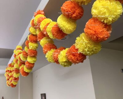 Sphinx artificial marigold fluffy flowers double lines hanging loops yellow and dark orange 1