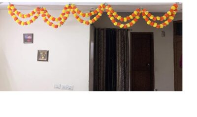 Sphinx artificial marigold fluffy flowers double lines hanging loops yellow and dark orange 2