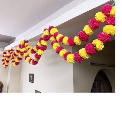 Sphinx artificial marigold fluffy flowers double lines hanging loops yellow and dark pink 1