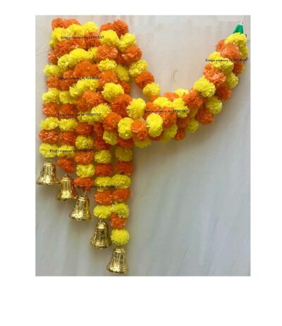 sphinx artificial fluffy marigold 5 ft strings with bell yellow and dark orange 1