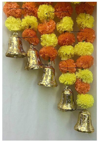 sphinx artificial fluffy marigold 5 ft strings with bell yellow and dark orange 2