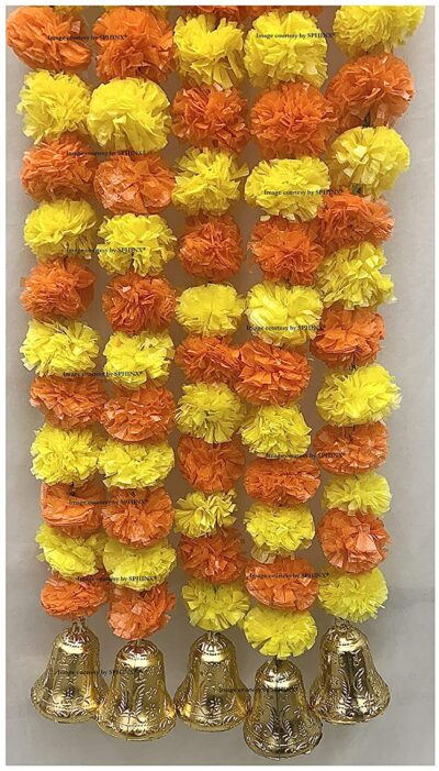 sphinx artificial fluffy marigold 5 ft strings with bell yellow and dark orange 3