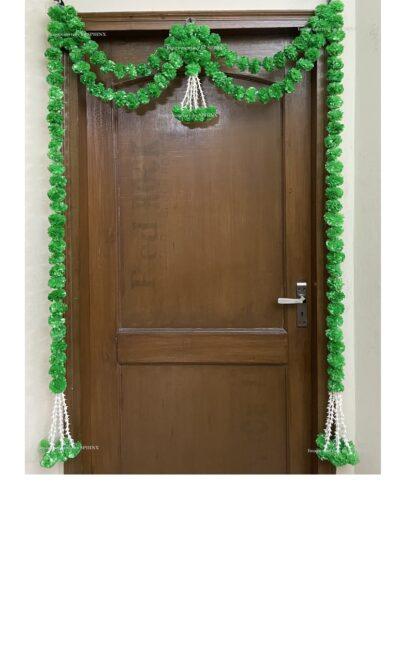 Sphinx artificial marigold fluffy flowers and tuberose (rajnigandha) big door toran green 1
