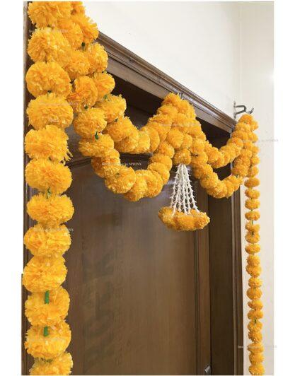 Sphinx artificial marigold fluffy flowers and tuberose (rajnigandha) big door toran light orange 4