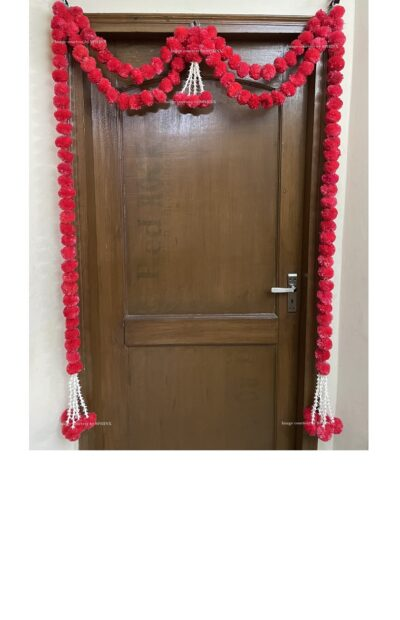 Sphinx artificial marigold fluffy flowers and tuberose (rajnigandha) big door toran red 1