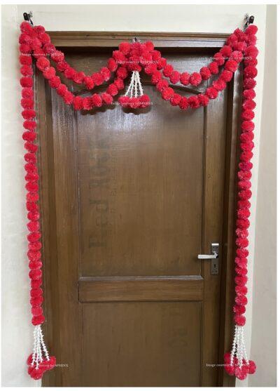 Sphinx artificial marigold fluffy flowers and tuberose (rajnigandha) big door toran red 2