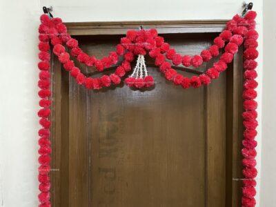 Sphinx artificial marigold fluffy flowers and tuberose (rajnigandha) big door toran red 3