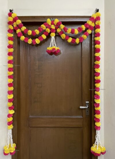 Sphinx artificial marigold fluffy flowers and tuberose (rajnigandha) big door toran yellow and dark pink rani 2