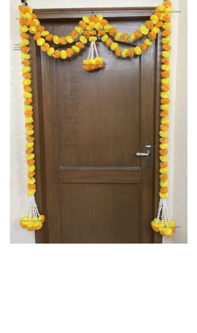 Sphinx artificial marigold fluffy flowers and tuberose (rajnigandha) big door toran yellow and light orange 1