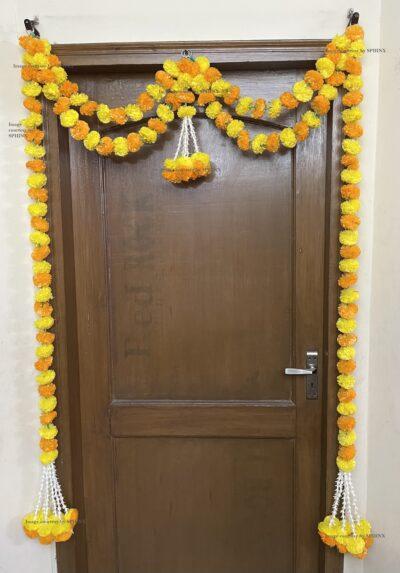 Sphinx artificial marigold fluffy flowers and tuberose (rajnigandha) big door toran yellow and light orange 2