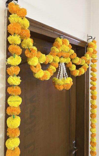 Sphinx artificial marigold fluffy flowers and tuberose (rajnigandha) big door toran yellow and light orange 4