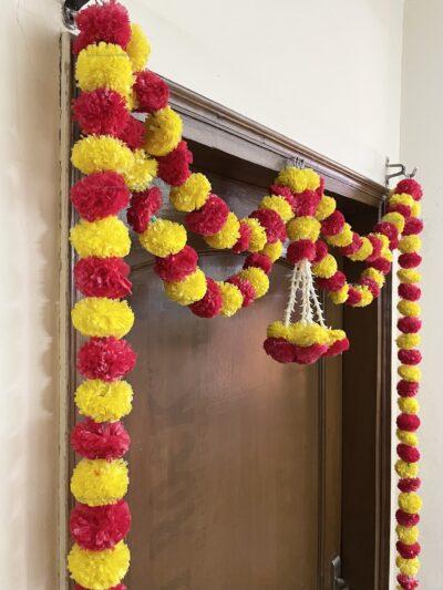 Sphinx artificial marigold fluffy flowers and tuberose (rajnigandha) big door toran yellow and red 4