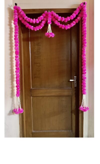 sphinx artificial marigold fluffy flowers big door toran baby pink 335097 1