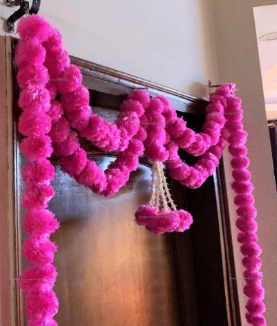 sphinx artificial marigold fluffy flowers big door toran baby pink 335097 2