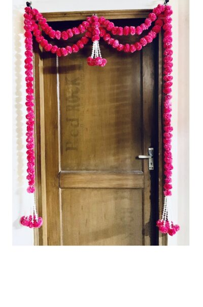 sphinx artificial marigold fluffy flowers big door toran dark pink rani 335097 1