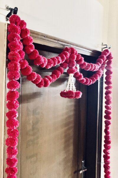 sphinx artificial marigold fluffy flowers big door toran dark pink rani 335097 2