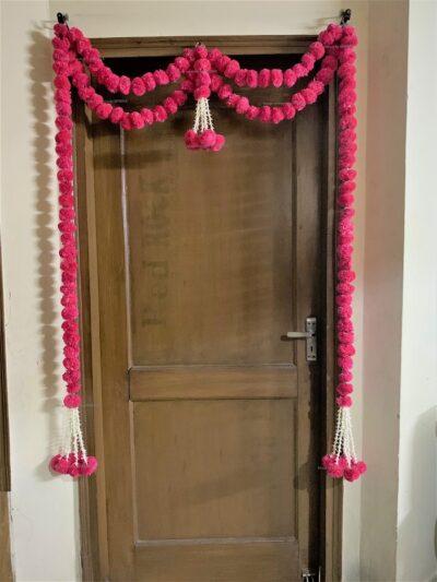 sphinx artificial marigold fluffy flowers big door toran dark pink rani 335097 3